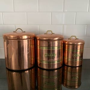 Vintage Copper Canister Set of 3 Kitchen Organizer